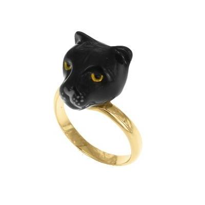 Bague ajustable Tête de Panthère noire réf BB56 - Nach