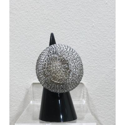 bague réglable boule argentée - fil de laiton tricoté main - Soninké