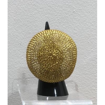 bague réglable boule dorée - fil de laiton tricoté main - Soninké