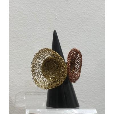 bague réglable duo dorée & cuivrée- fil de laiton tricoté main - Soninké