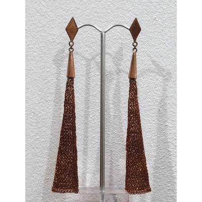 Boucles d'oreilles clous cône cuivré - fil de laiton tricoté main - Soninké
