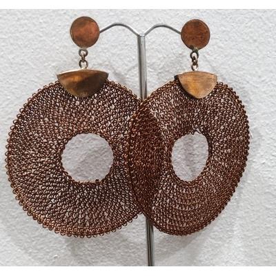 Boucles d'oreilles clous donuts cuivrés- fil de laiton tricoté main - Soninké