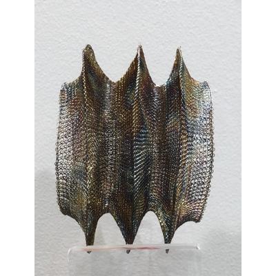 Bracelet cheminé flammée - fil de laiton tricoté main - Soninké