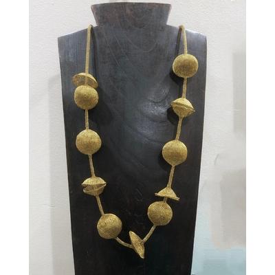 Sautoir espace doré - fil de laiton tricoté main - Soninké