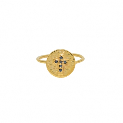 Bague martelée dorée et croix zircons noirs - Lucky Team