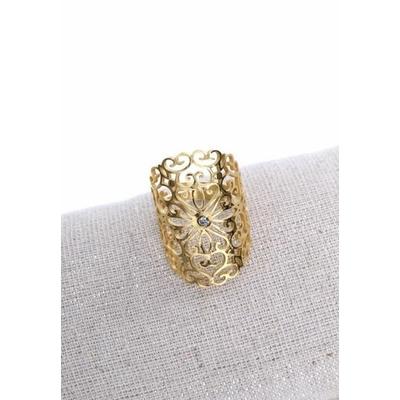 Bague réglable ajourée doré Largeur 2.7cm cm acier inoxydable - Milë Mila