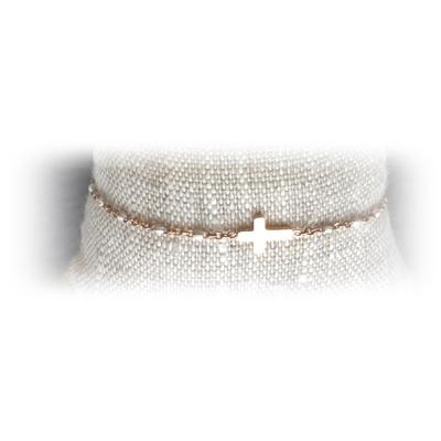 Bracelet acier croix perles coloris blanc - La Belle Simone Bijoux