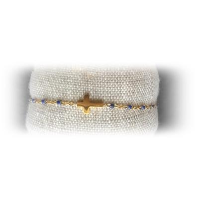 Bracelet acier croix perles coloris bleu - La Belle Simone Bijoux