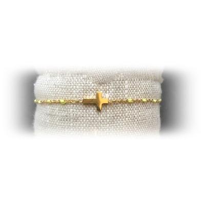 Bracelet acier croix perles coloris jaune - La Belle Simone Bijoux