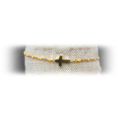 Bracelet acier croix perles coloris orange - La Belle Simone Bijoux