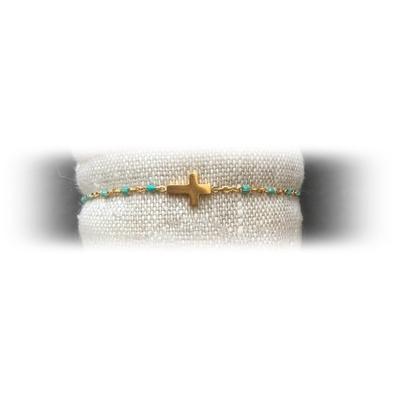 Bracelet acier croix perles coloris turquoise - La Belle Simone Bijoux