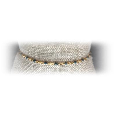 Bracelet acier perles coloris bleu - La Belle Simone Bijoux