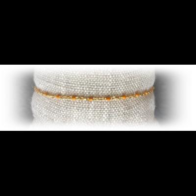 Bracelet acier perles coloris orange - La Belle Simone Bijoux