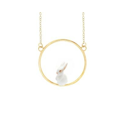 Collier rond lapin blanc U155 - Nach