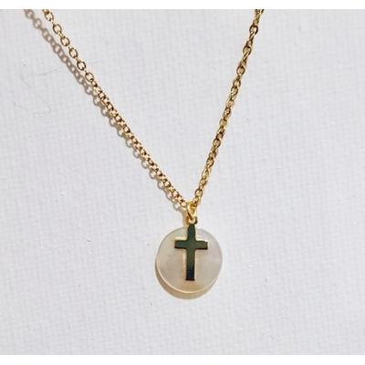 Collier religieux croix simple et médaille de nacre véritable acier inoxydable - La belle Simone Bijoux
