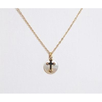 Collier religieux croix procession et médaille de nacre véritable acier inoxydable - La belle Simone Bijoux