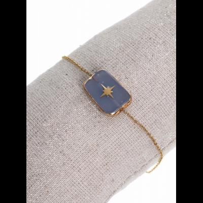Bracelet pierre rectangle violet étoile filante doré pendentif H2.0cm L1.4cm acier inoxydable Milë Mila