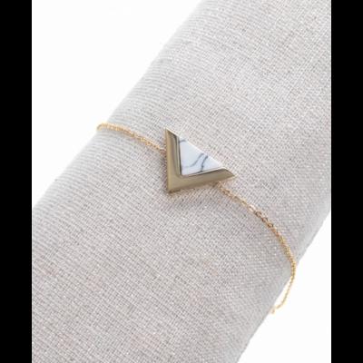 Bracelet triangle marbre blanc doré acier inoxydable Milë Mila