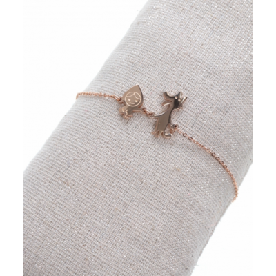 Bracelet chaperon rouge or roseH1.6cm L2.0cm acier inoxydable Milë Mila