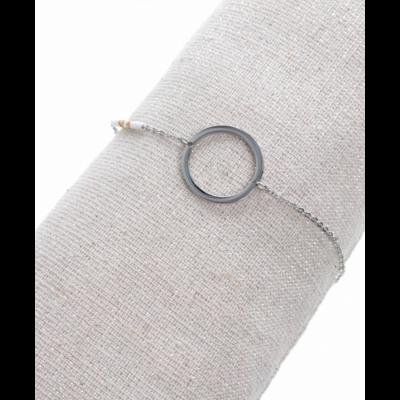 Bracelet rond perles blanches argent acier inoxydable Milë Mila