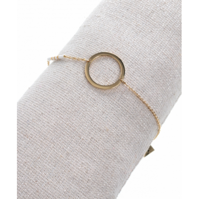 Bracelet rond perles blanches or rose acier inoxydable Milë Mila