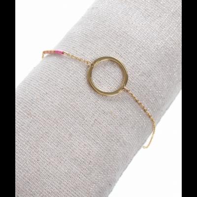 Bracelet rond perles roses doré acier inoxydable Milë Mila