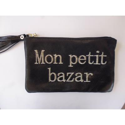pochette mon petit bazar en cuir noir LA BELLE SIMONE