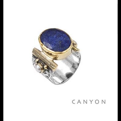 Bague argent 925 Lapis Lazuli ovale et 2 perles - Canyon