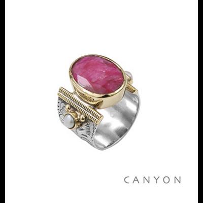 Bague argent 925 sillimanite teintée rouge ovale et 2 perles - Canyon