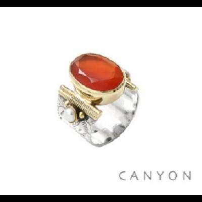 Bague argent 925 pierre ovale Cornaline orange et 2 perles blanches - Canyon
