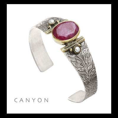 Bracelet jonc argent et laiton sillimanite ovale teintée rouge 2 perles rondes - Canyon