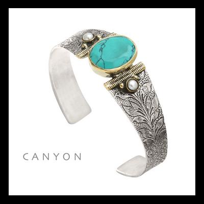 Bracelet argent 925 et laiton turquoise reconstituée 2 perles rondes - Canyon
