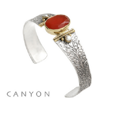 Bracelet argent 925 et laiton cornaline 2 perles rondes - Canyon