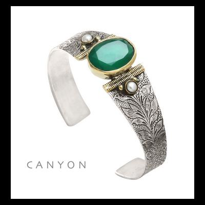 Bracelet argent 925 et laiton quartz vert 2 perles rondes - Canyon