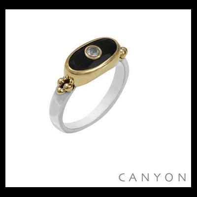 Bague argent 925 et laiton petit rectangle onyx noir et petite pierre de lune - Canyon