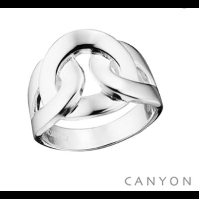 Bague en argent 925 anneaux plats emmêlés - Canyon