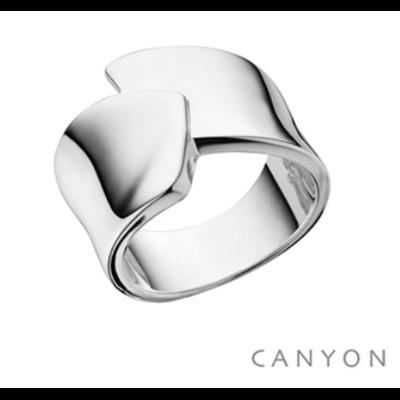 Bague argent 925 large anneau plat croisé - Canyon