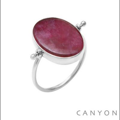 Bague argent 925 réversible 1 côté madone 1 côté sillimanite teintée rouge ovale et plate - Canyon