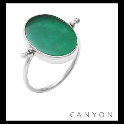 Bague argent 925 réversible 1 côté madone 1 côté onyx vert ovale et plate - Canyon