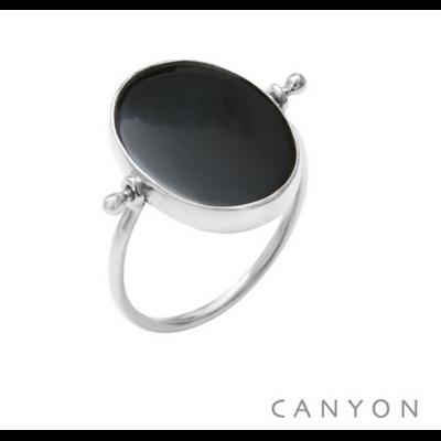 Bague argent 925 réversible 1 côté madone 1 côté onyx noir ovale et plate - Canyon