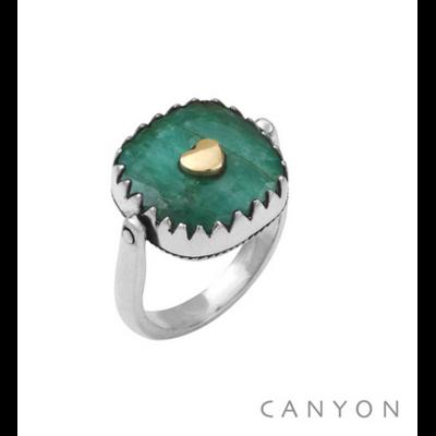 Bague argent 925 réversible 1 coté sillimanite verte carré coeur laiton 1 coté plaque d'argent coeur - Canyon