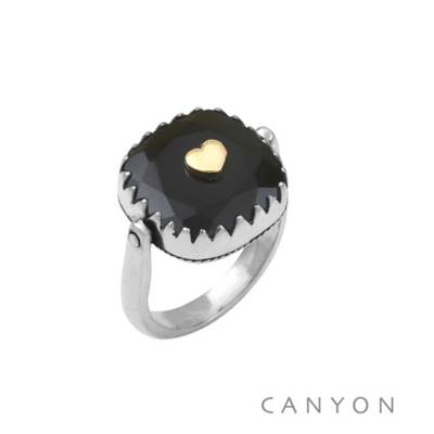 Bague argent 925 réversible 1 coté onyx noir carré coeur ♥ laiton 1 coté plaque d'argent coeur - Canyon
