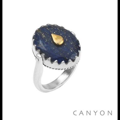 Bague argent 925 réversible 1 coté lapis lazuli ovale goutte laiton 1 coté plaque d'argent goutte - Canyon