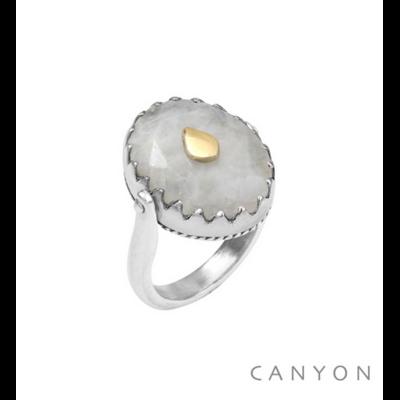 Bague argent 925 réversible 1 coté pierre de lune ovale goutte laiton 1 coté plaque d'argent goutte - Canyon