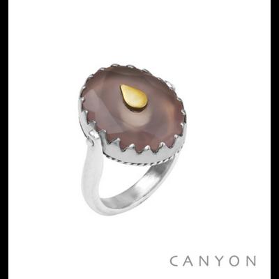 Bague argent 925 réversible 1 coté calcedoine rose ovale goutte laiton 1 coté plaque d'argent goutte - Canyon