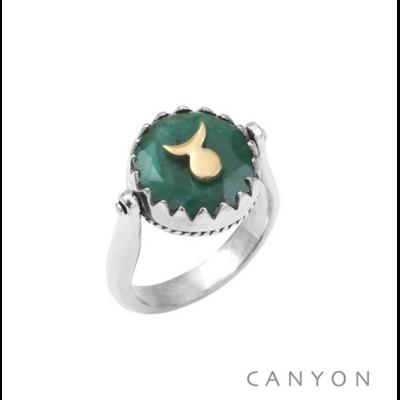 Bague argent 925 réversible 1 coté sillimanite verte ronde soleil-lune laiton 1 coté plaque d'argent soleil-lune - Canyon