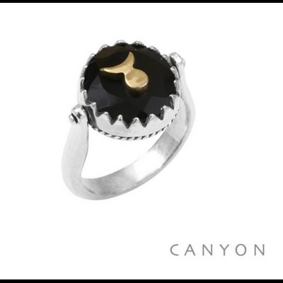 Bague argent 925 réversible 1 coté onyx noir rond soleil-lune laiton 1 coté plaque d'argent soleil-lune - Canyon
