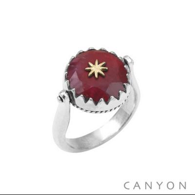 Bague argent 925 réversible 1 coté sillimanite teintée rouge ronde étoile laiton 1 coté plaque d'argent étoile - Canyon