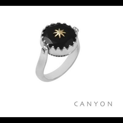 Bague argent 925 réversible 1 coté onyx noir rond étoile laiton 1 coté plaque d'argent étoile - Canyon