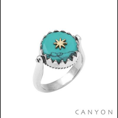 Bague argent 925 réversible 1 coté turquoise reconstituée ronde étoile laiton 1 coté plaque d'argent étoile - Canyon